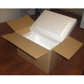 Hullámkarton doboz 300x200x200mm EPS hungarocell 40mm betéttel
